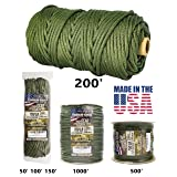 TOUGH-GRID 750lb Camo Green Paracord / Parachute Cord - Genuine Mil Spec Type IV 750lb Paracord Used by the US Military (MIl-C-5040-H) - 100% Nylon - Made In The USA. 50Ft. - Camo Green