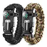 X-Plore Gear Emergency Paracord Bracelets | Set Of 2| The ULTIMATE Tactical Survival Gear| Flint Fire Starter, Whistle, Compass & Scraper/Knife| BEST Wilderness Survival-Kit - Camo(R)/Black(R)