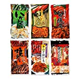 Assorted 6 Packs of Otsumami (Japanese Dried Seafood Snack eaten with Sake) Set F (Spicy Squid, etc.) Ninjapo Wrapping