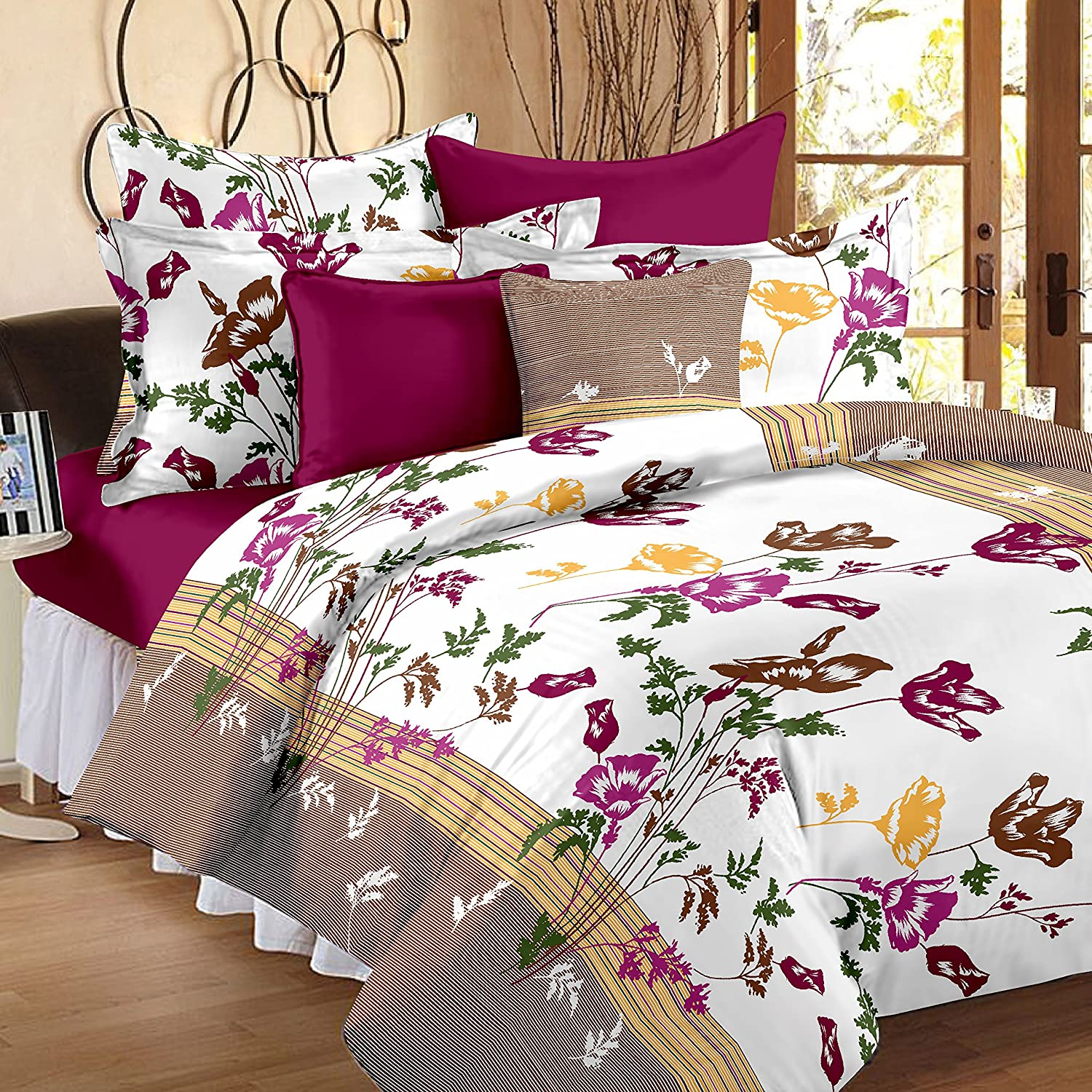 Bed sheets with price - Story Home Cotton Floral 120 Tc 100 Cotton Double Bedsheet With 2 Pillow Covers Multicolor