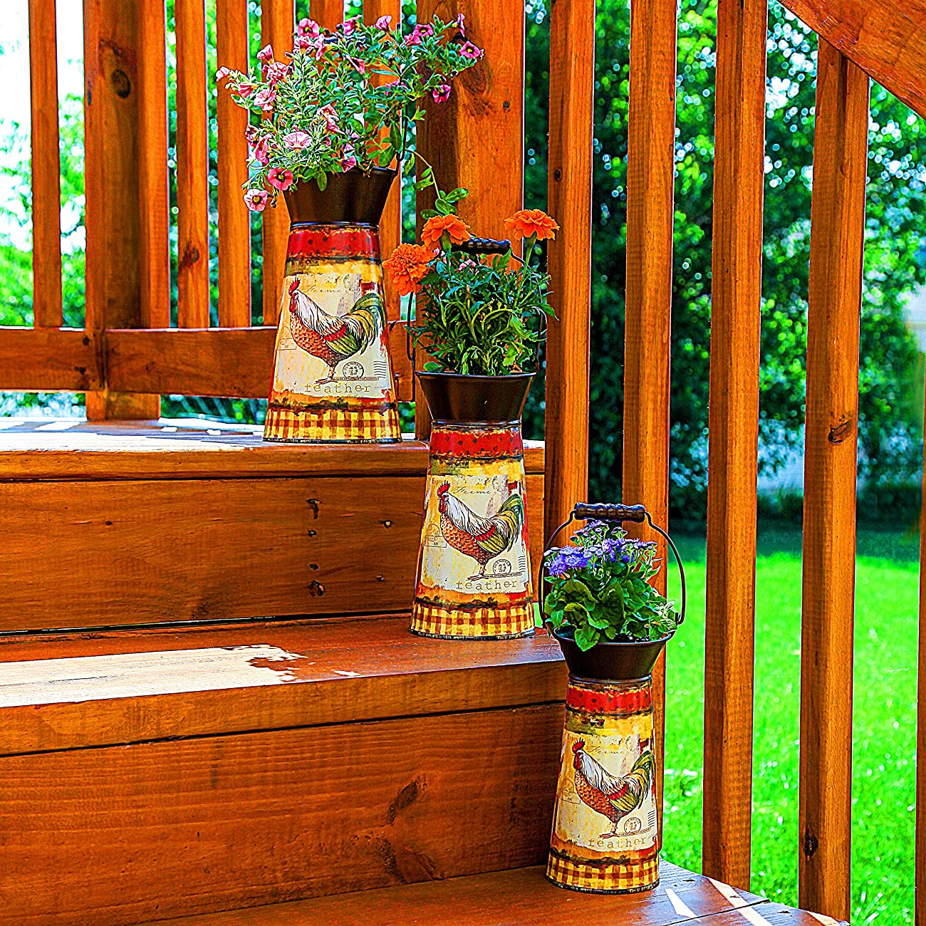 Janazala Metal Flower Pots Designed as Rustic Pitchers with Decorative Vintage Printing of Rooster on Each Flower Pot, Set of 3 4