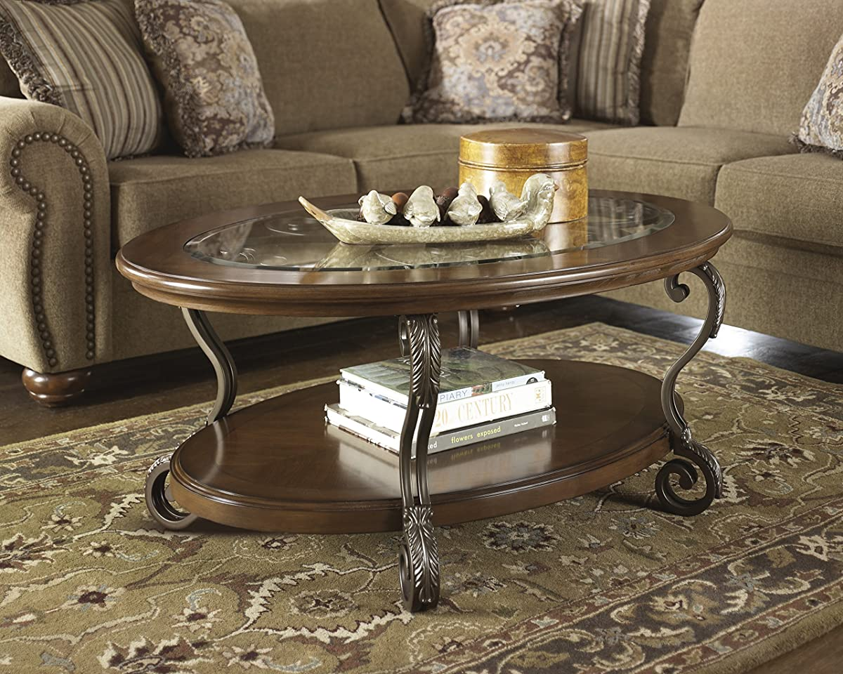 Ashley Furniture Signature Design - Nestor Glass Top Coffee Table - Cocktail Height - Oval - Medium Brown