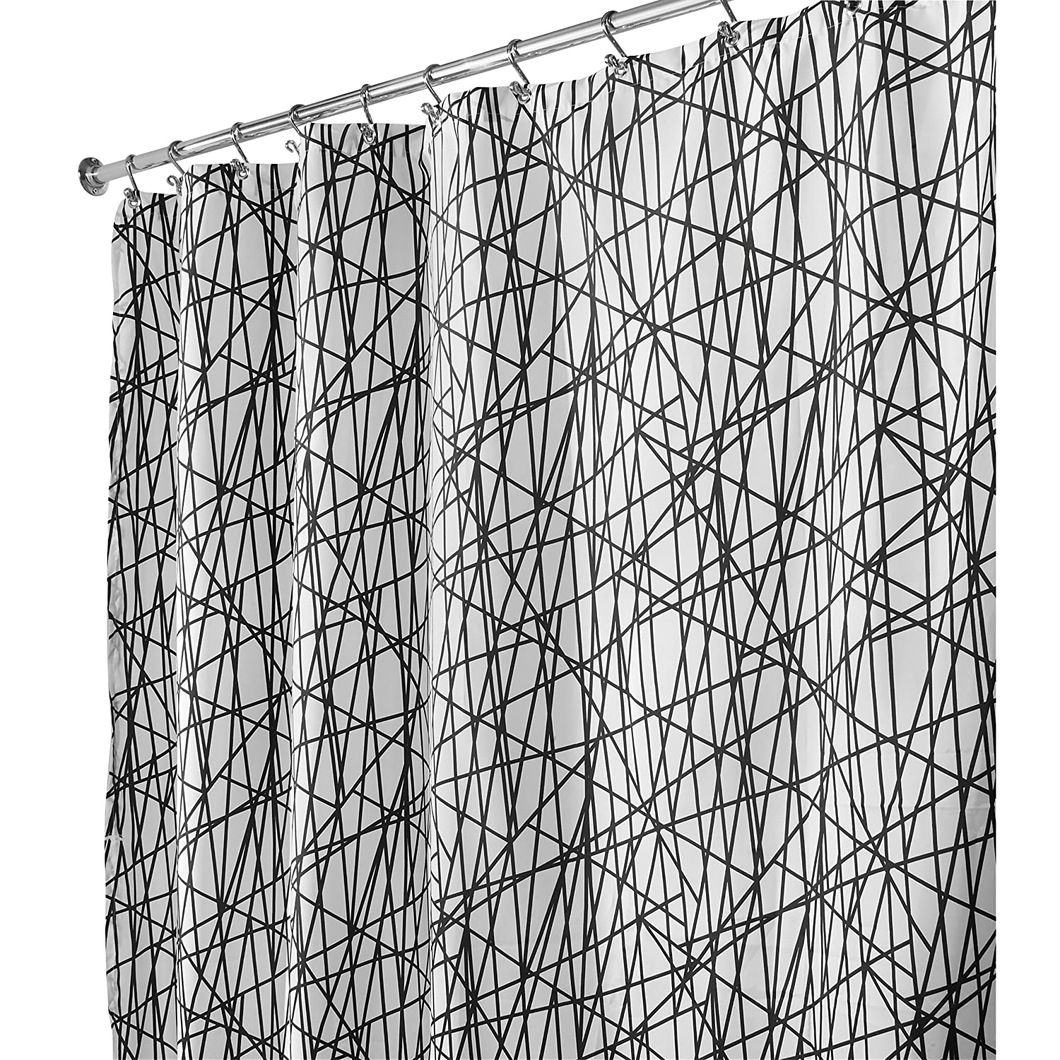 interdesign abstract long shower curtain black white 72
