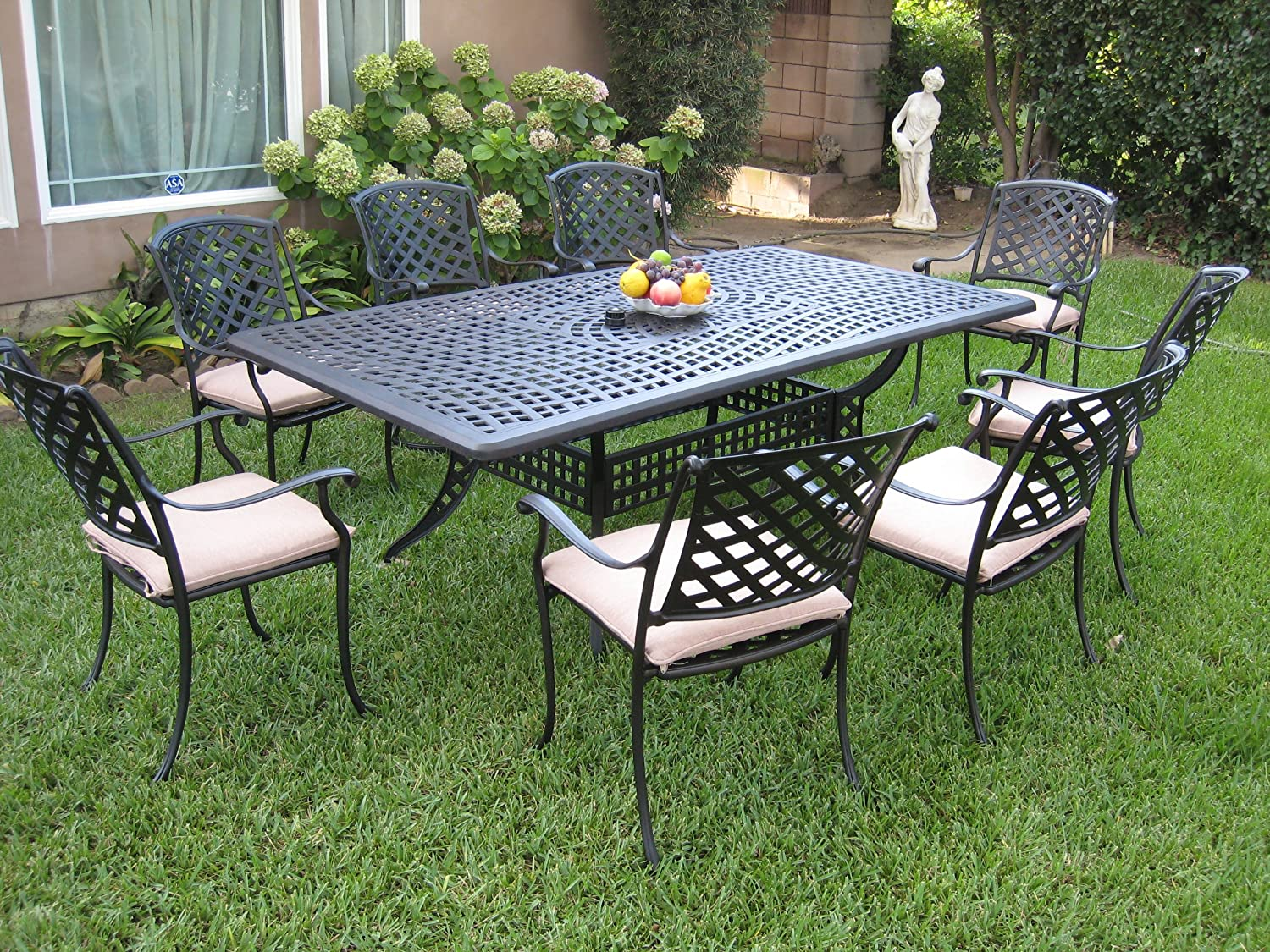 outdoor cast aluminum patio furniture 9 piece dining set