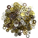 Aokbean 150 Gram Assorted Vintage Mixed Color Metal Steampunk Jewelry Making Charms Cog Watch Wheel (Mixed Color) (Color: Mixed Color)
