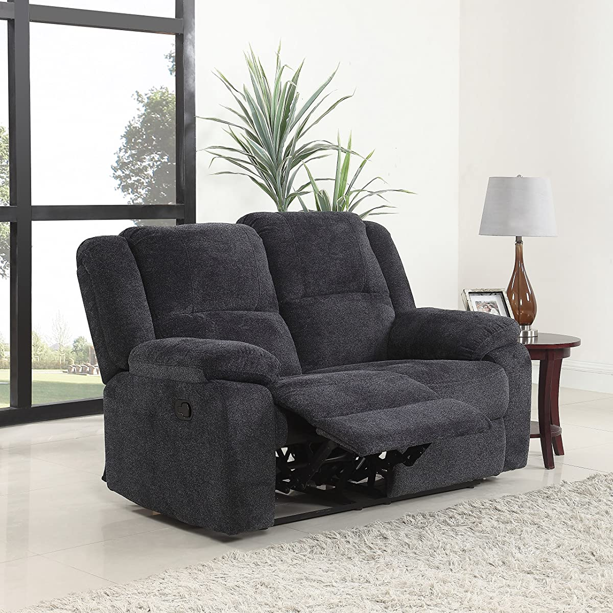 Traditional Classic Living Room Microfiber Double Recliner Loveseat (Dark Grey)