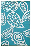 Fab Habitat 4-Feet by 6-Feet Paisley Indoor/Outdoor Rug, River Blue and White