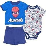 Marvel Spiderman Baby Boys' 3pc T-Shirt Shorts and Bodysuit Set, Blue (6-9 Months) (Color: Blue, Tamaño: 6-9 Months)
