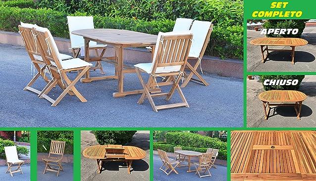 Eurolandia 87830 - Set da Giardino In Legno Di Acacia - Tavolo Ovale Allungabile + 6 Sedie Senza Braccioli + 6 Cuscini