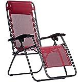 AmazonBasics Outdoor Zero Gravity Lounge Folding Chair, Burgundy (Color: Burgundy, Tamaño: 18.52inch)