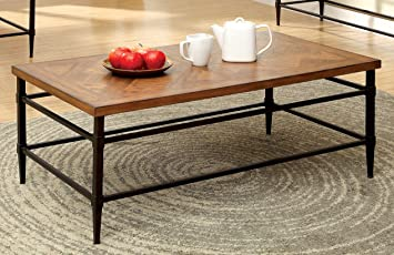 Furniture of America Brenna Industrial Coffee Table, Light Oak