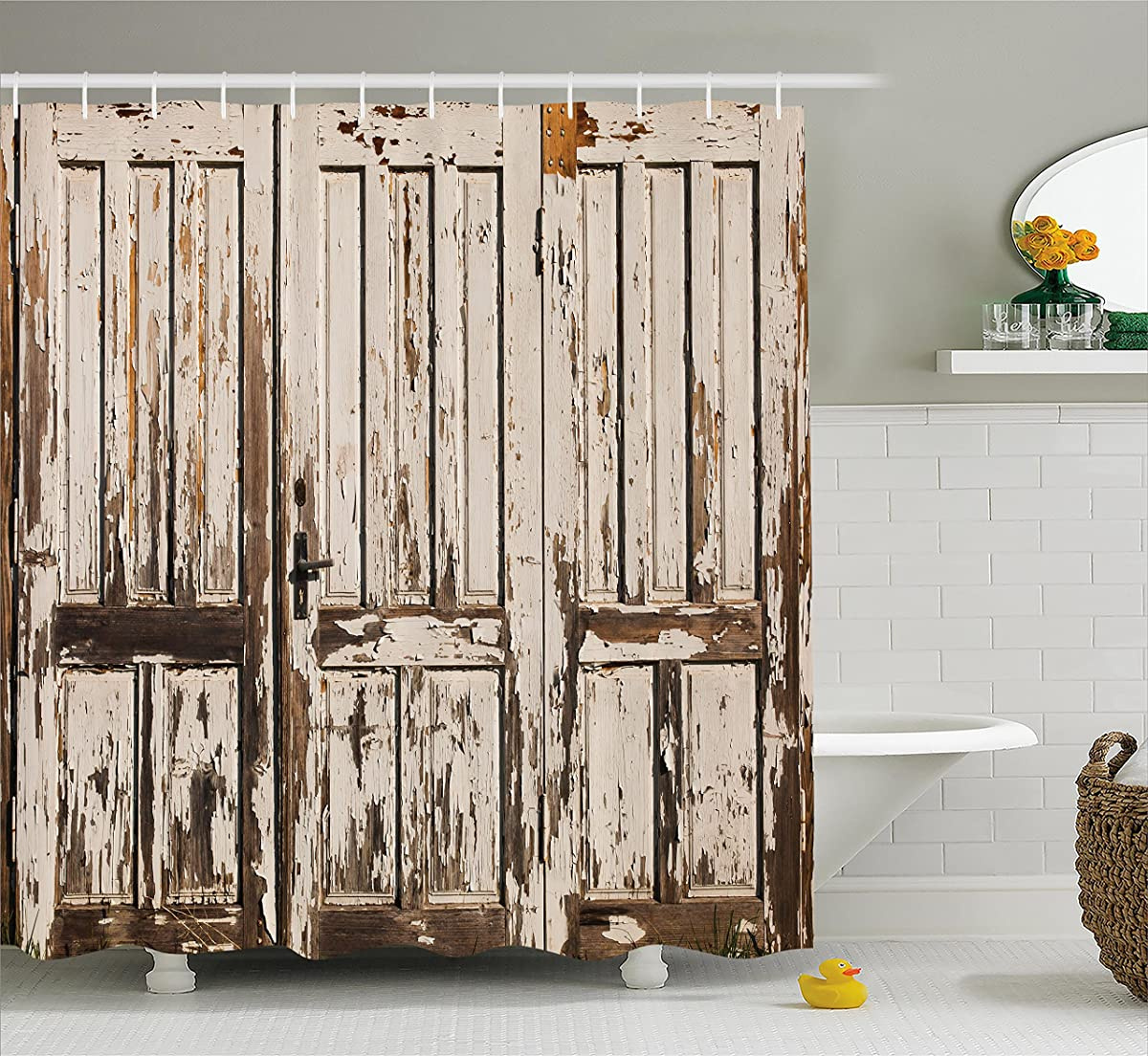 Rustic Shower Curtain by Ambesonne, Vintage House Entrance with Vertical Lined Old Planks Distressed Hardwood Design, Fabric Bathroom Decor Set with Hooks, 75 Inches Long, Beige Brown