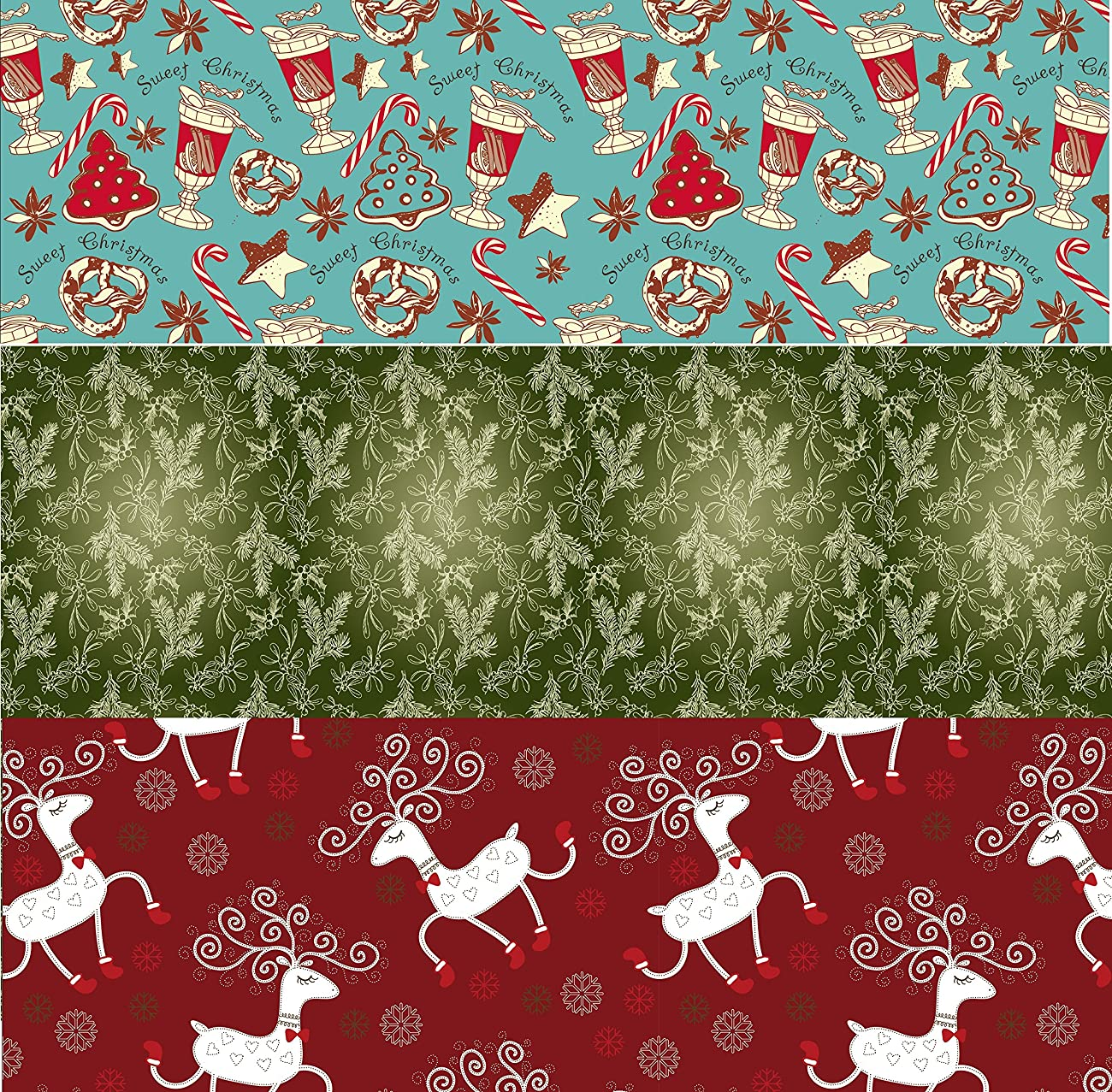 Retro Christmas Kraft Wrapping Paper Sets (Reindeer-Mistletoe-SodaShoppe on Brown Kraft) 0