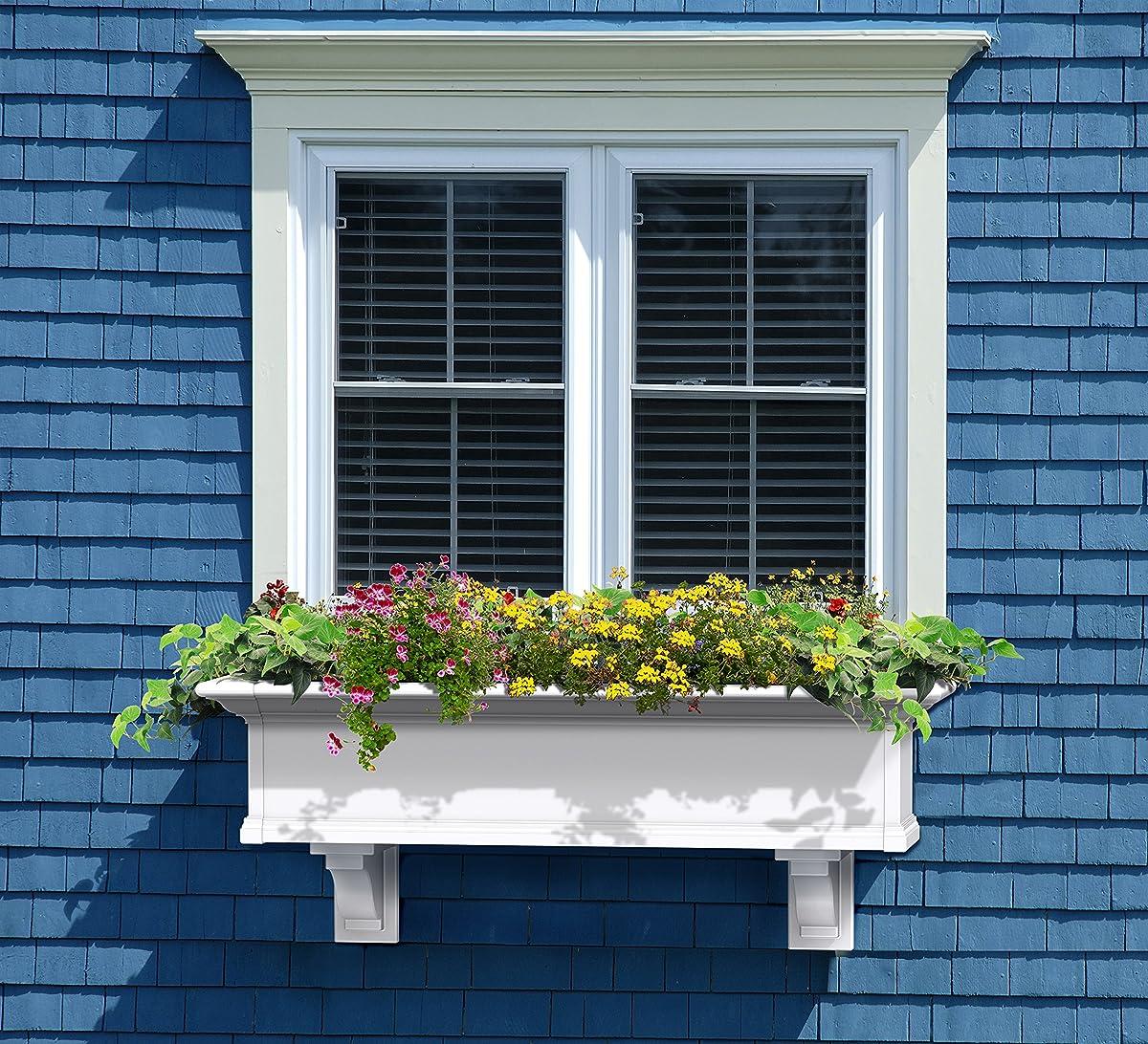Mayne Yorkshire 4824W Window Box Planter, 4-Foot, White