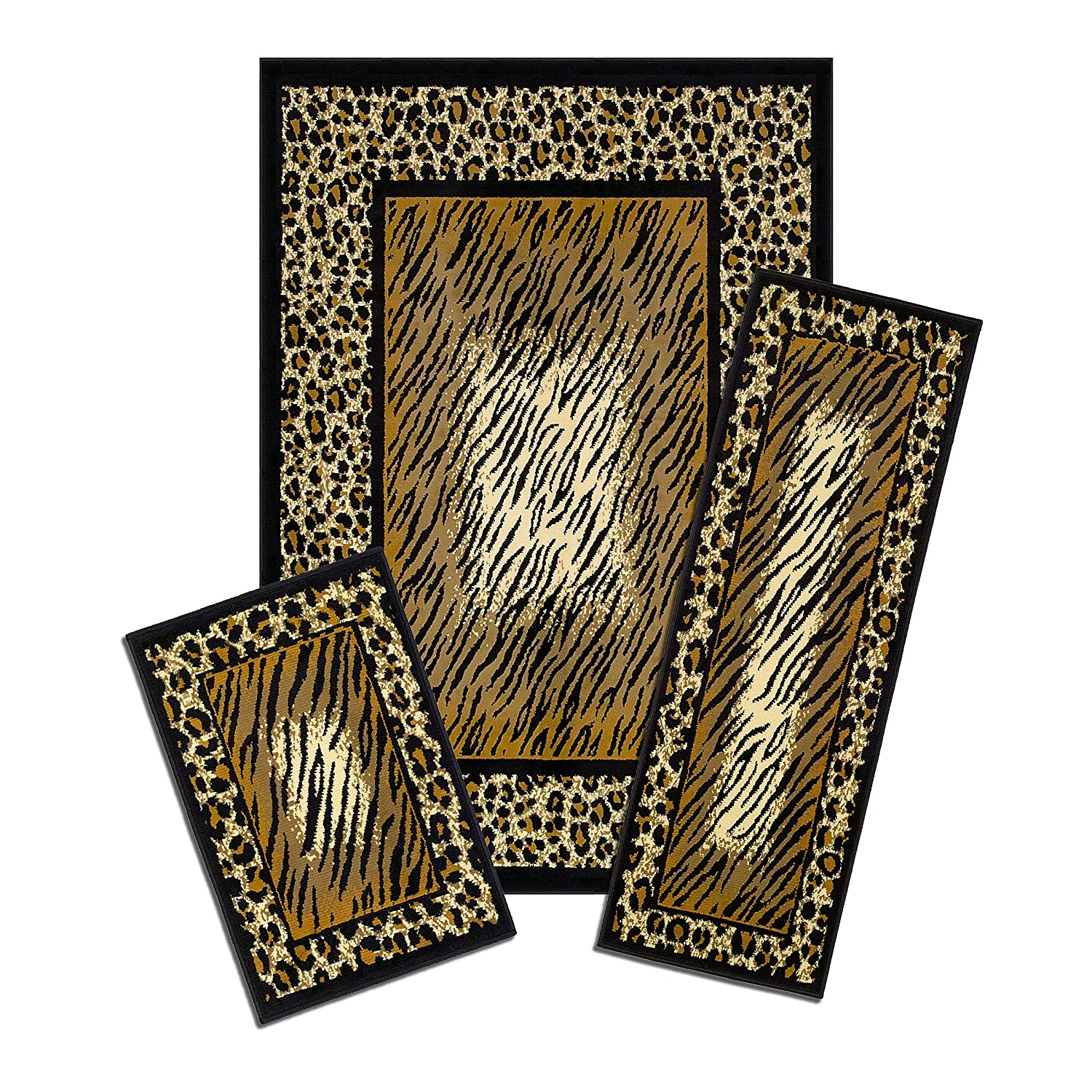 Achim Home Furnishings Capri 3 Piece Rug Set Leopard Skin