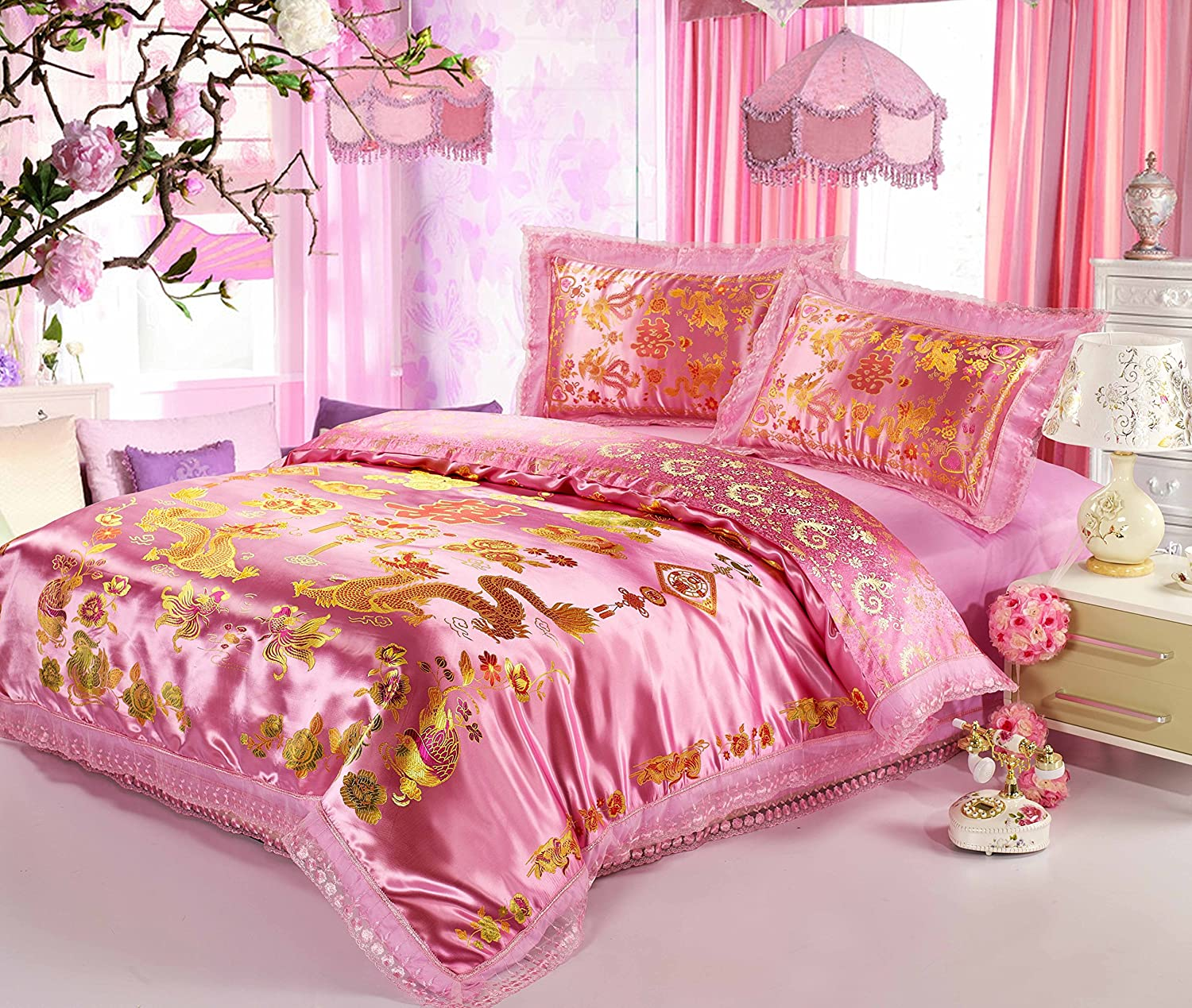 Cliab Chinese Traditional Bedding Asian Bedding Queen with Dragon and Phoenix Bird Embroidery Duvet Cover Set 4pcs