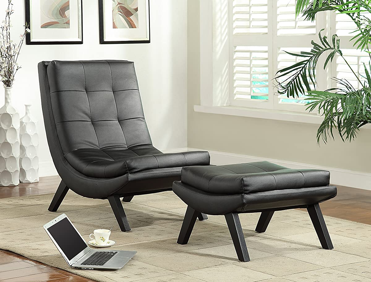 Avenue Six AVE SIX Tustin Faux Leather Lounge Chair And Ottoman Set With  Solid Wood Legs, ...