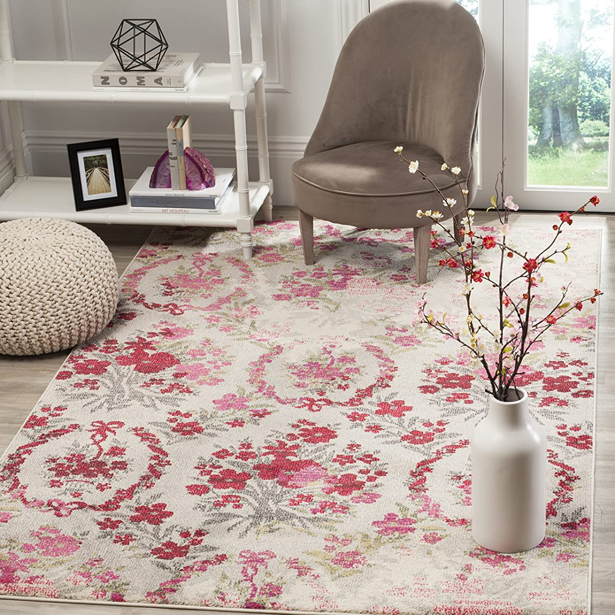 "Safavieh Monaco Collection MNC205R Modern Floral Erased Weave Ivory and Pink Distressed Area Rug (4 x 57"")"