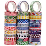 Washi Tape Set of 30,Decorative Adhesive Paper Masking Tapes 10MM Wide,Writable Sticky Tape Set for Scrapbooking/Craft