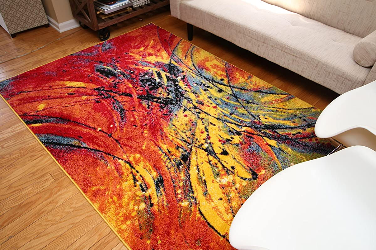 Feraghan/Radiance Collection ant6005_8x11 Art Contemporary Collection Modern Splat Wool Area Rug, 8 x 10, Yellow/Blue/Orange/White