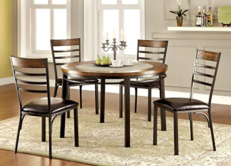 Furniture of America Naga 5-Piece Industrial Round Dining Set