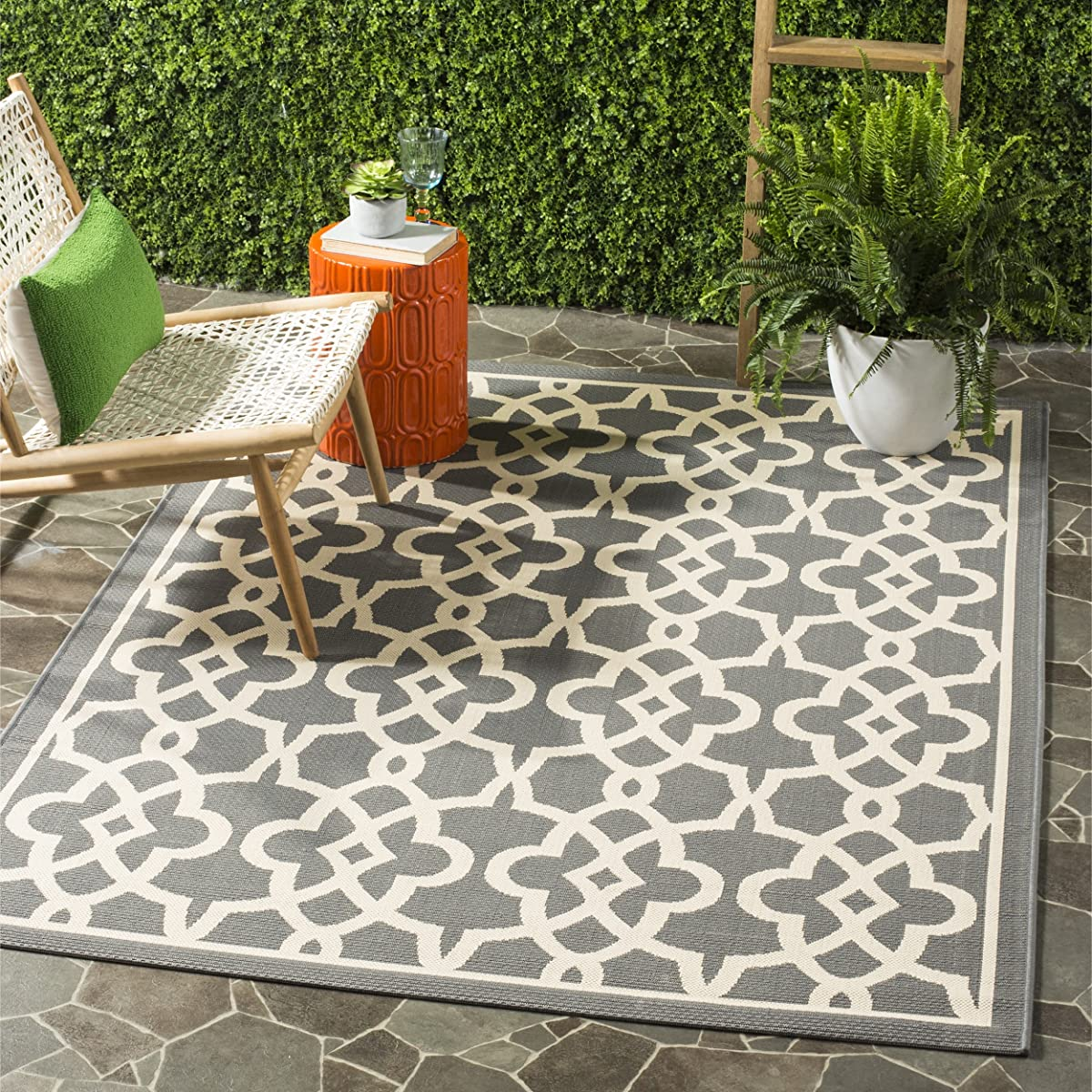 "Safavieh Courtyard Collection CY6071-246 Grey and Beige Indoor/ Outdoor Area Rug (53"" x 77"")"