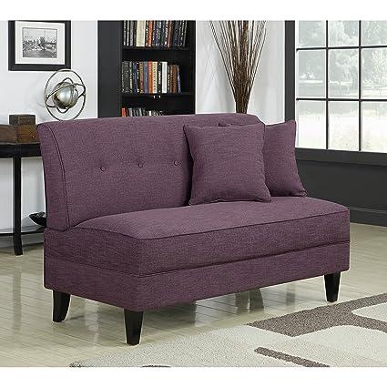 Metro Shop Portfolio Engle Amethyst Purple Linen Armless Loveseat