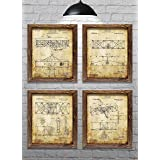 Gifts for Pilots! - Wright Brothers Flyer Patents - First Flight - Set of Four - 8x10