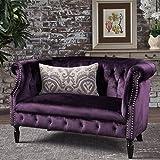 Melaina BlackBerry Velvet Loveseat - Tufted Rolled Arm Velvet Chesterfield Loveseat Couch (Color: Blackberry)