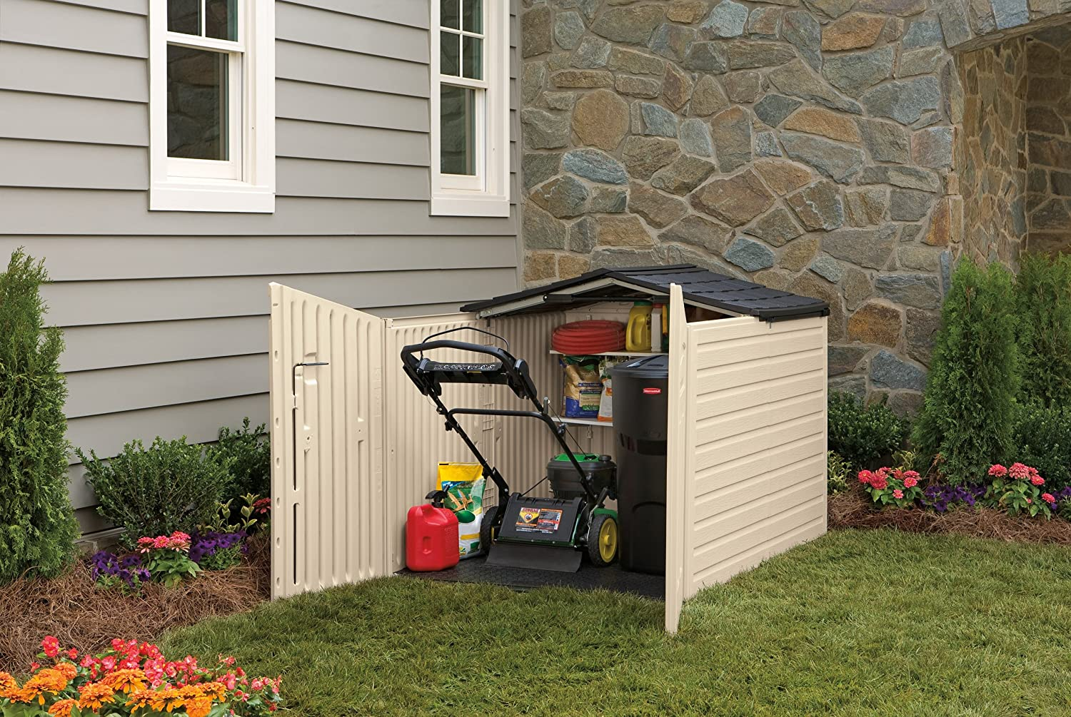 Rubbermaid outdoor storage for Lawn mower storage shed
