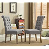 Roundhill Furniture Habit Grey Solid Wood Tufted Parsons Dining Chair (Set of 2), Gray (Color: Gray)