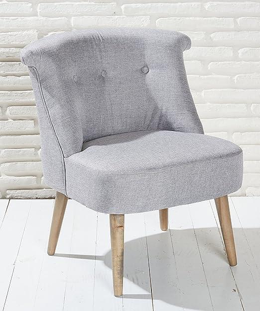 Sillón Acolchado gris con patas madera Lounge Sillón Butaca Modern