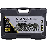 Black Chrome Universal Mechanic's Tool Set, 201-Piece Selection of Stanley Ratchet Handles, Sockets, Extensions and Hex Keys