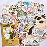 36PCS Packed Retro Washi Paper Decals Stickers, Doraking DIY Kraft Packed Vintage Decorative Stickers for Scrapbook, Gift Wrapping, Decoration, Wall (Memory Trip, 36PCS/Pack) (Color: Memory Trip)