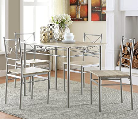 Coaster 100035 5 Pc Dining Table And Chairs Set Brushed Silver Finish