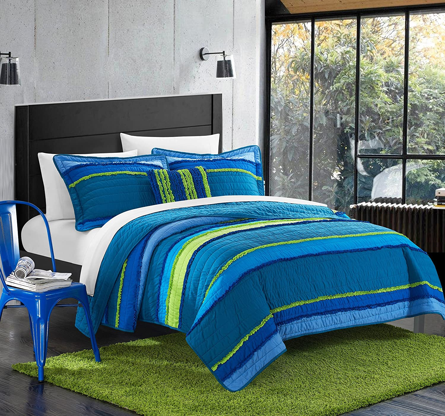 Chic Home 3 Piece Italica Ruffled & Rouched Details Pieced Multi Colored Global Design Quilt Set, Twin, Blue