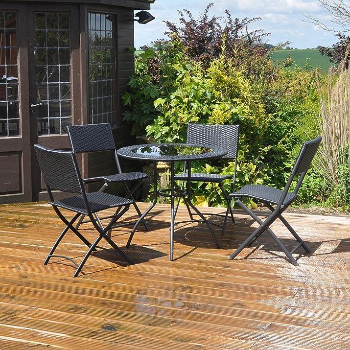 Kingfisher - Set da 5 pezzi per giardino e balcone, effetto rattan