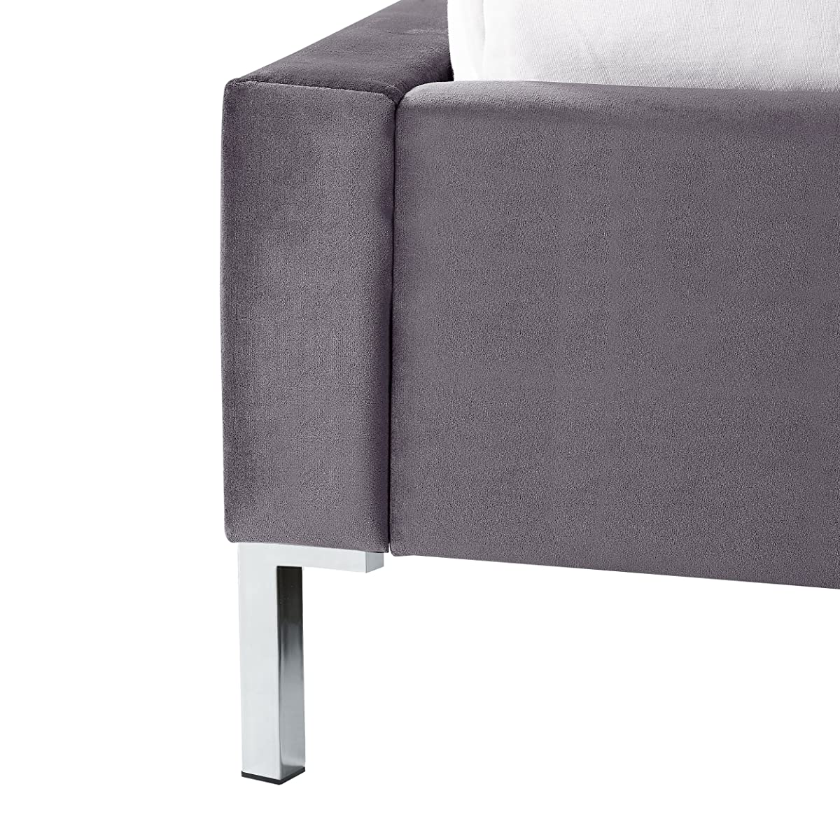 InspiredHome Grey Velvet Platform Bedframe – Design: Leonardo   King Size   Tufted   Modern   Nailhead Trim Finish