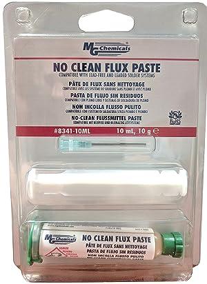 MG Chemicals 8341 No Clean Flux Paste, 10 milliliters Pneumatic Dispenser (Complete with Plunger & Dispensing Tip) (Color: Original Version, Tamaño: 10 ml)