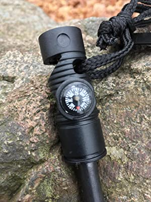 Ninja Outdoorsman Emergency Fire Starter with Compass and Whistle (Black, Single)