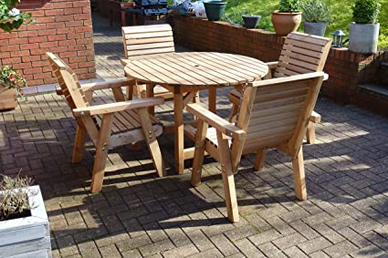 Wooden 4 Seat Patio Set - Solid Wood Outdoor Patio Garden Table Furniture