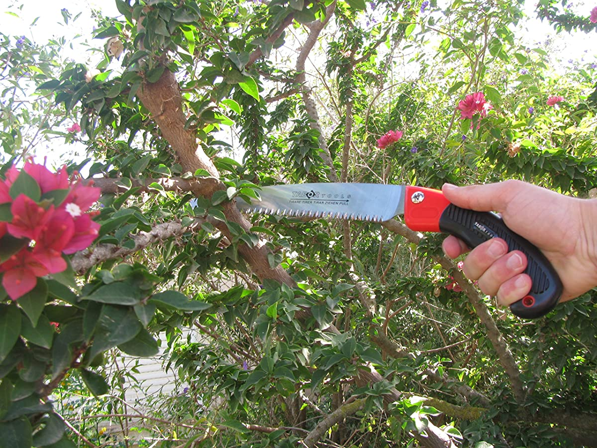 "TABOR TOOLS Pruning Saw with Sheath For Trimming Tree Branches & Clearing Forest Trails, 10"" Straight Steel Turbocut Pull-Action Blade, Your Next Professional Pruning Tool!"