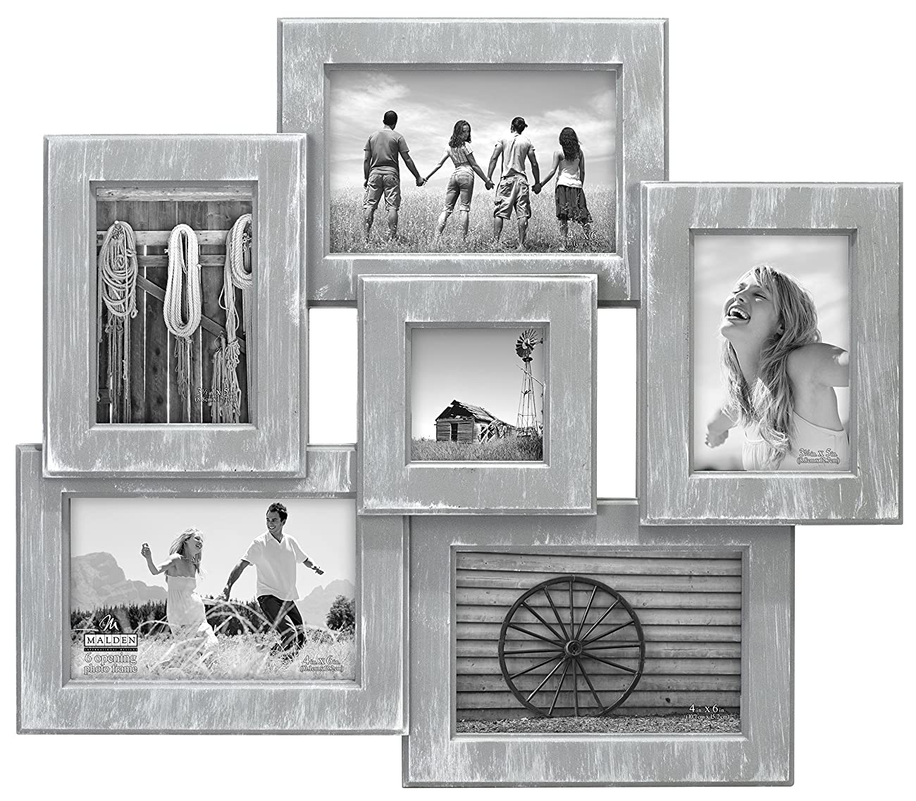 Malden International Designs Berkshire Beveled 6 Opening Wall Collage Picture Frame, Holds 3-4