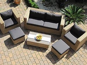 Lounge Wohnlandschaft Sofa 2 Sessel Tisch 2 Hocker Rattan Polyrattan Geflecht Gartenmöbel naturbeigebraun ProvenceKundenbewertung und Beschreibung