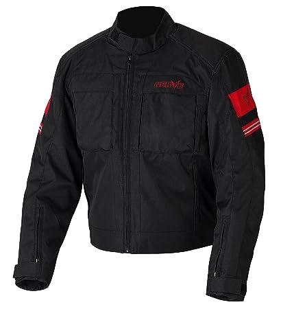 NERVE 1511150401_08 Move Blouson Moto d'Eté Textile Membrane, Noir/Rouge, Taille : 4XL