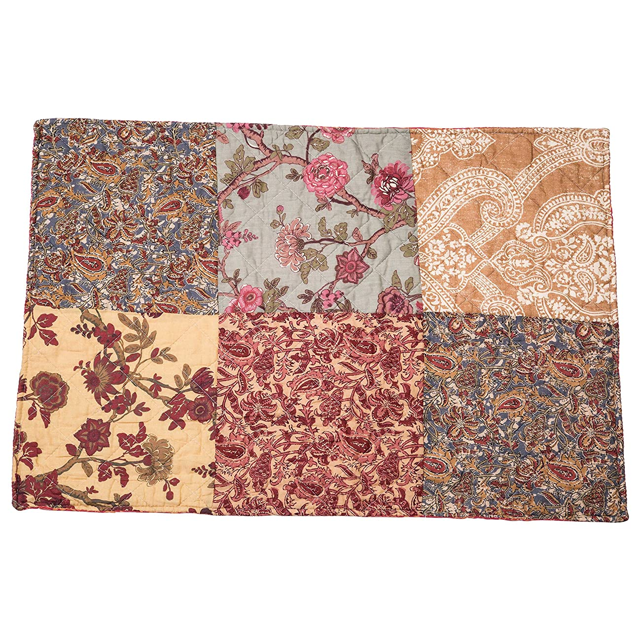 Luxury Retro Floral Stitching Cotton Patchwork Bedspread Sets Quilt Queen Size 3
