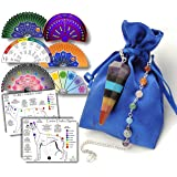 Healing Crystal Pendulum Gift Set for Dowsing and Energy Work - Includes Download Link to 8 Full-Color Dowsing Charts & Healing Guide (Color: Purple Blue Green Orange Yellow Red, Tamaño: 1.5-2 inches)