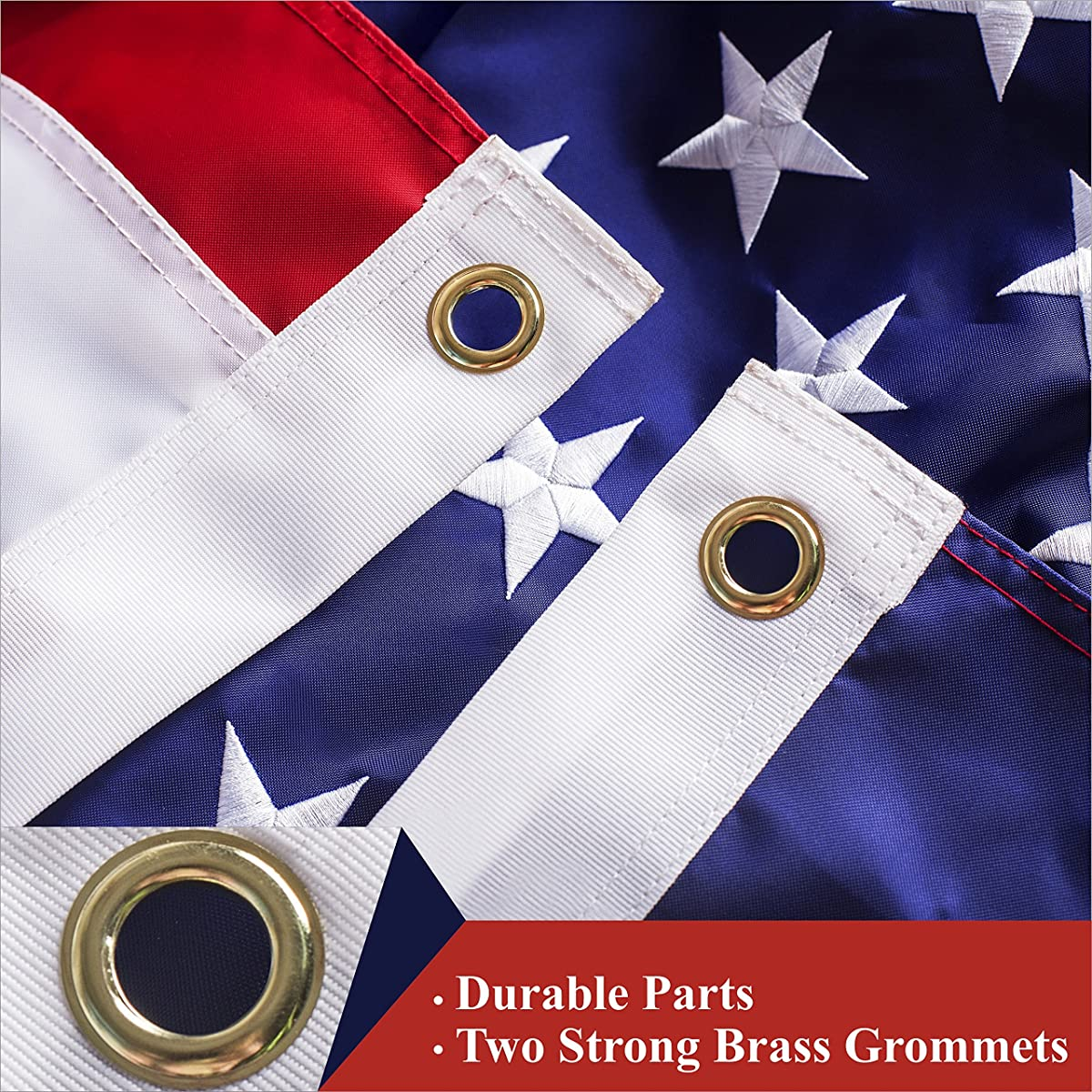 G128 American Flag 3x5 Ft Embroidered Stars Sewn Stripes Brass Grommets 210D Quality Oxford Nylon