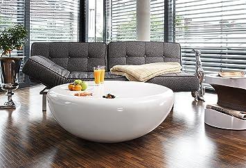 Couch-Tisch weiß Hochglanz rund aus Fiberglas Durchmesser 100cm | Trisk | Super-Stylischer Wohnzimmer-Tisch im Retro-Design Glas Weiss 100 cm x 38 cm