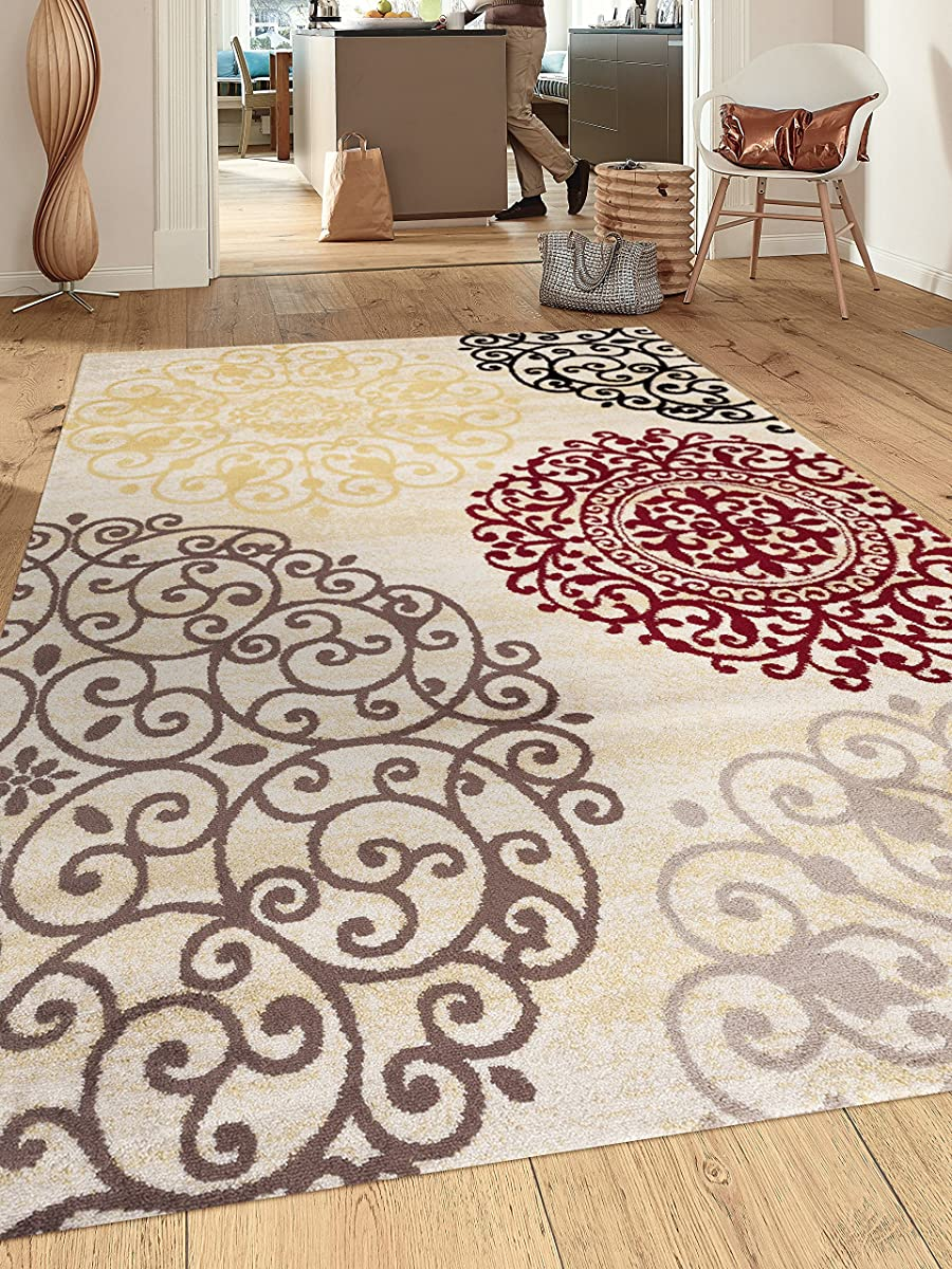 "Rugshop Contemporary Modern Floral Indoor Soft Area Rug, 53"" x 73"", Cream"